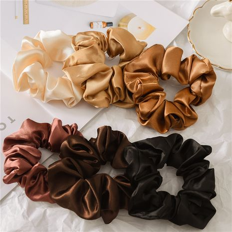 Fashion satin cloth large intestine circle solid color hair scrunchies  NHDM261307's discount tags