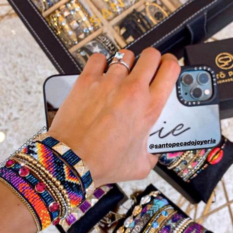 Hot selling fashion rice bead woven punk diamond rivet bracelet wholesale NHGW261329's discount tags