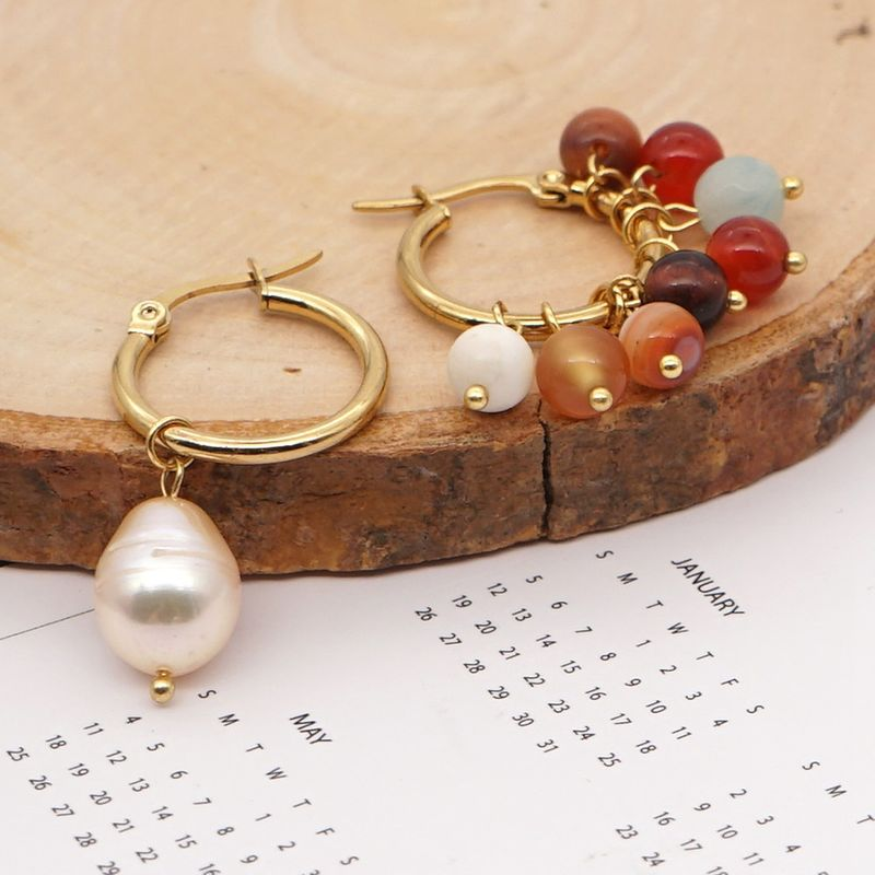 baroque style natural freshwater pearl retro large hoop earrings NHGW261332