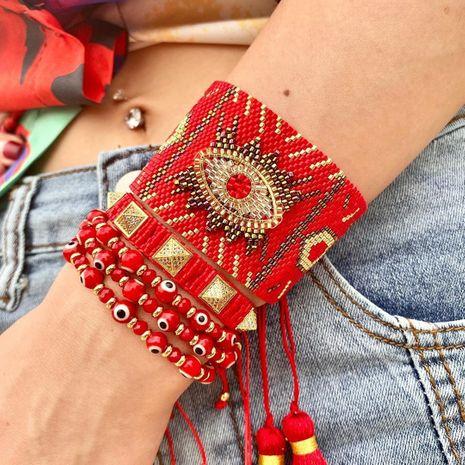 Hot selling fashion rice bead woven plum blossom diamond multi-layered bracelet wholesale NHGW261348's discount tags