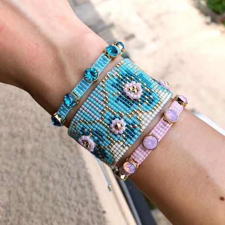 Hot selling fashion rice bead woven plum blossom diamond multi-layered bracelet wholesale NHGW261350's discount tags