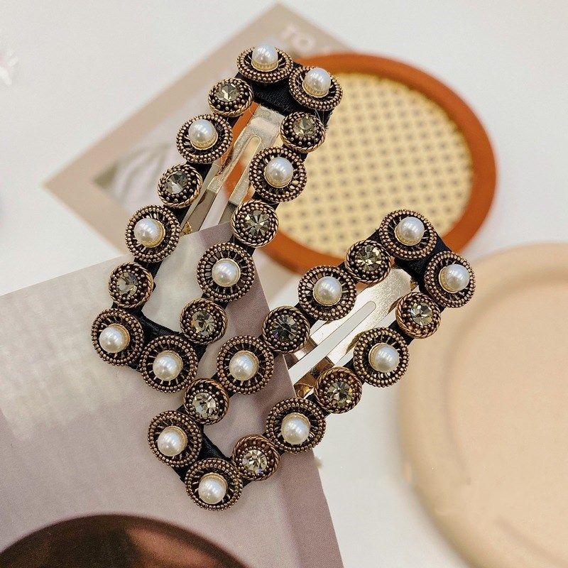 new handmade nail pearl Korean retro headdress bangs square word clip hairpin  NHSM260824