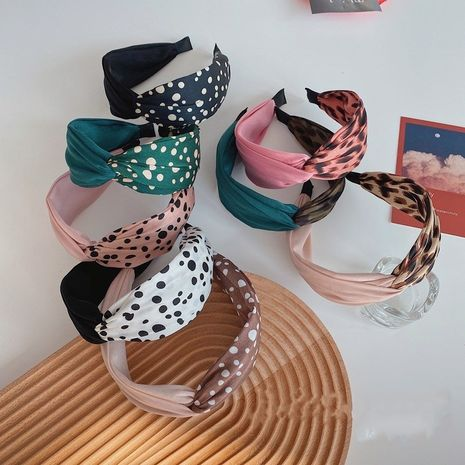 Hot selling fashion leopard print polka dot cross headband   NHSM260837's discount tags