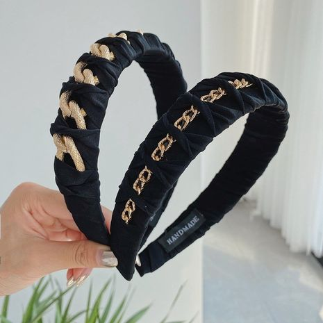 Hot selling fashion alloy chain headband braided wide-sided knotted headband  NHSM260838's discount tags