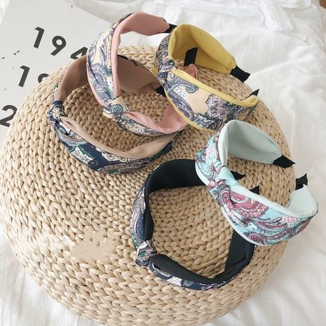 Hot selling fashion floral knotted wide-brimmed headband  NHSM260846's discount tags