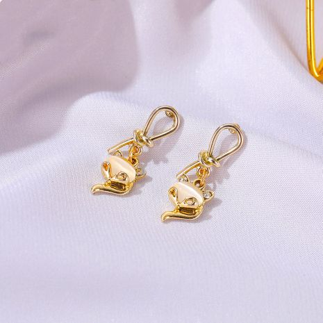 S925 silver needle temperament cat's eye fox cute knotted small animal earrings   NHDP260849's discount tags