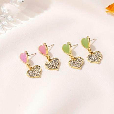 Korean new full diamond color double heart simple love girls peach heart earrings NHDP260852's discount tags