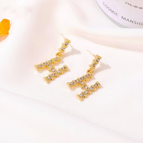 S925 silver needle trendy retro slub Korean new letter H earrings  NHDP260853's discount tags