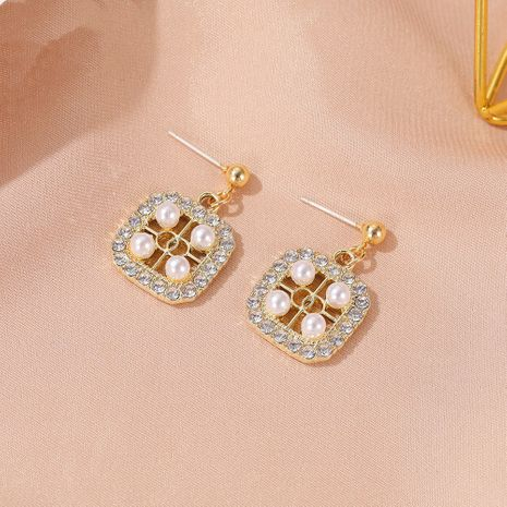 Korean pearl wild short square simple alloy earrings  NHDP260861's discount tags