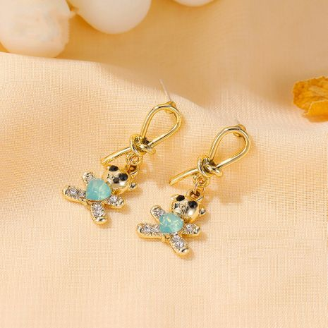 Korean cute bear new  knotted love alloy earrings NHDP260863's discount tags