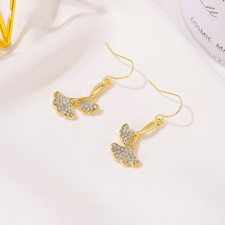Korean long double-layer tree leaf ginkgo leaf alloy earrings NHDP260865's discount tags