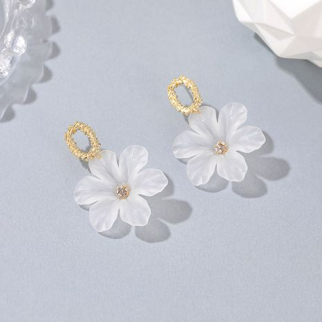 S925 plata coreana simple flor transparente nuevos hermosos pendientes de flores NHDP260869's discount tags