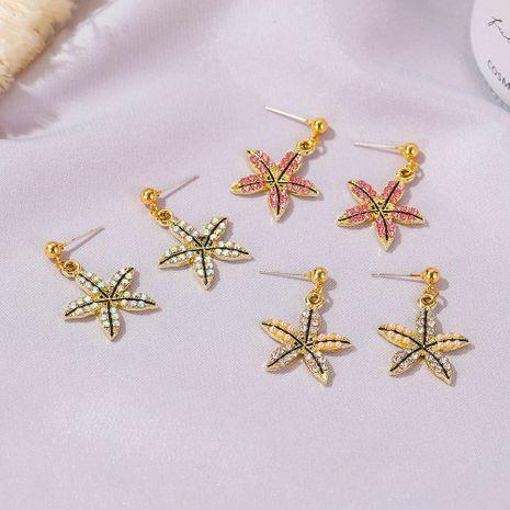 Korean new five-leaf clover ladies five-petal flower simple color short alloy earrings NHDP260872's discount tags