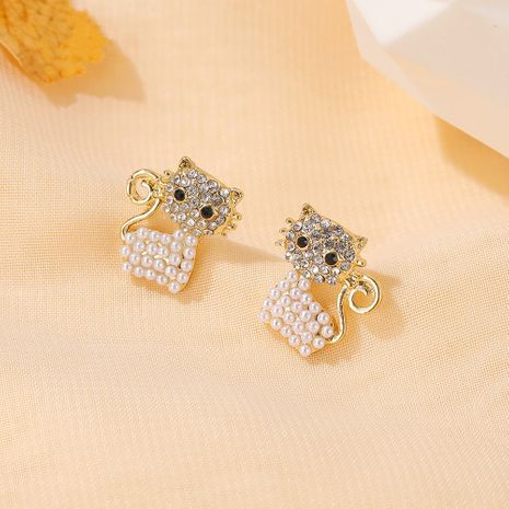 Hot selling fashion cute cat  sweet pearl small animal earrings   NHDP260886's discount tags