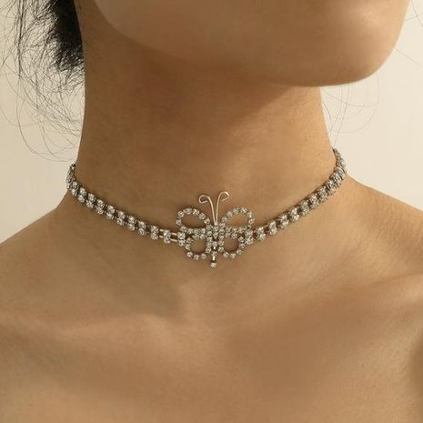 Hot selling fashion full diamond butterfly necklace simple butterfly necklace  NHDP260889's discount tags