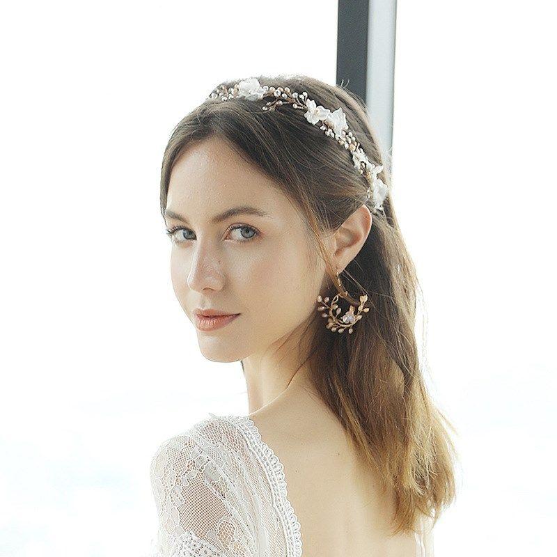 Simple  handwoven flower ear hooks natural pearl earrings  NHHS260908
