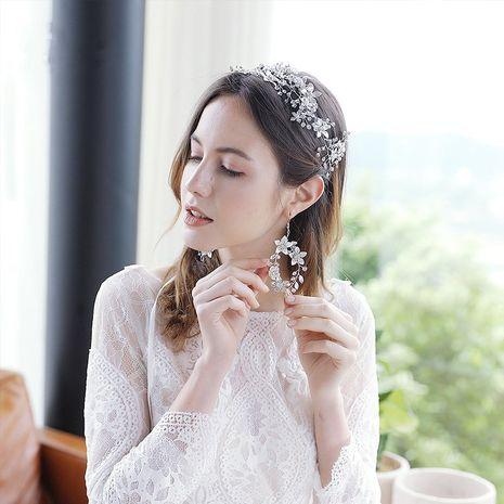 Korean fashion  flowers handmade diamond ear hooks bridal wedding earrings NHHS260912's discount tags