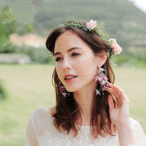 fleur artificielle fleur à la main fée pelouse plage mariage boucles d'oreilles mariée NHHS260916's discount tags