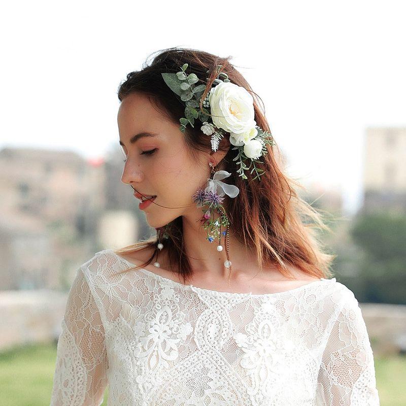 Bride Korean cloth simulation flower tassel long wedding  earrings  NHHS260917