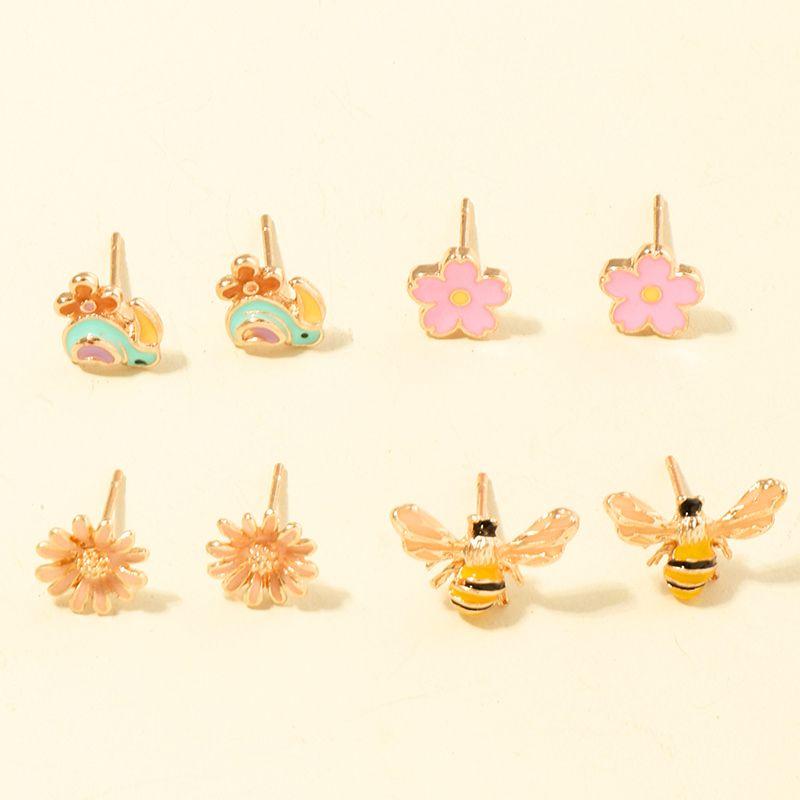 Color bee ear studs 4 pairs earrings set  NHNU261963