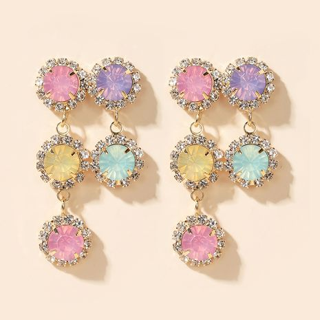 Korean five-color flower fashion new color diamond long earrings for women NHGY261396's discount tags