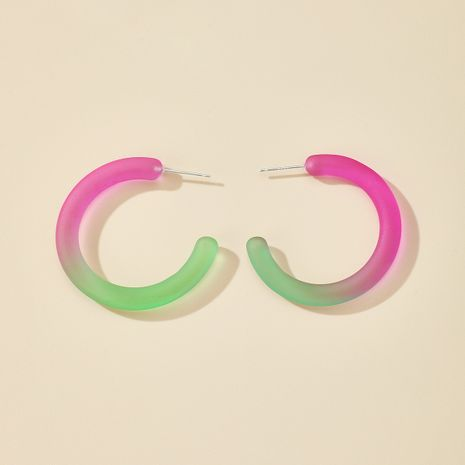 S925 silver needle geometric C-shaped semicircular all-match color contrast gradient resin earrings  NHGY261397's discount tags