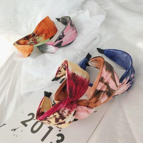 Venda de ala ancha anudada cruzada de la venda del pelo del teñido anudado de la moda vendedora caliente NHSM260842's discount tags