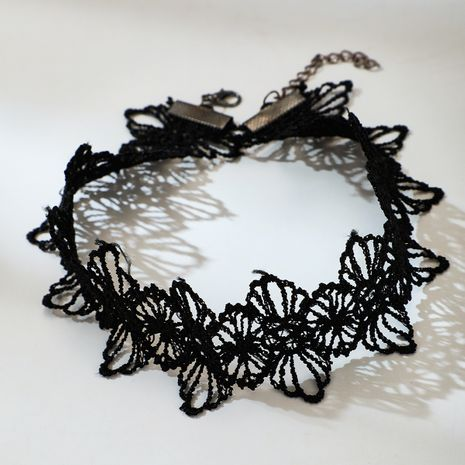 Fashion new black wide brim lace short clavicle chain  NHGY261386's discount tags