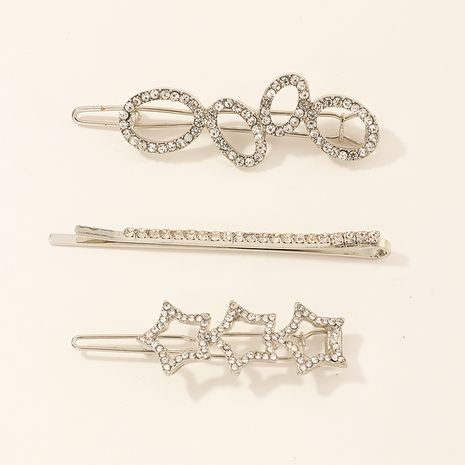 3 sets of silver five-pointed star hairpins NHNU261960's discount tags