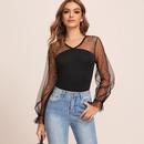 new style net yarn Vneck longsleeved Tshirt shirt top NHJG261377