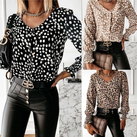 Camisa estampada con cuello redondo superior de las nuevas mujeres de la moda NHJC261374's discount tags