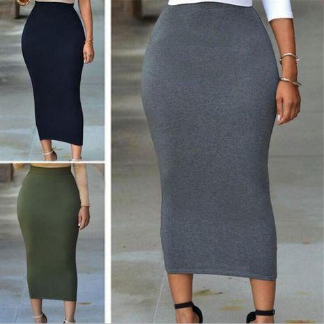 nueva falda larga de color sólido falda de mujer de longitud media NHIS261373's discount tags