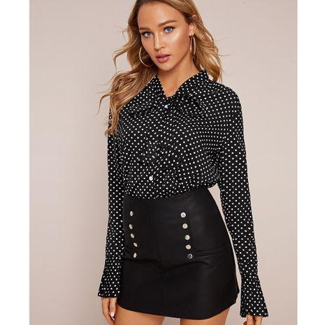 moda nueva camisa de lunares de manga larga con solapa de un solo pecho NHJG261372's discount tags