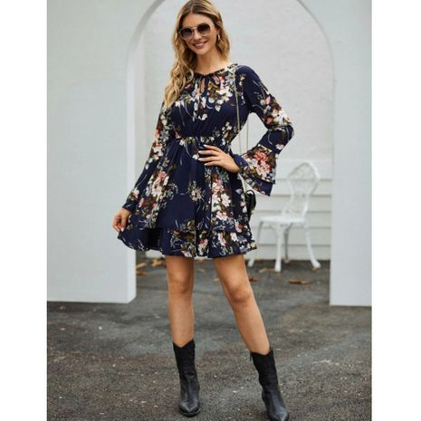 nueva moda cintura adelgazante color de manga larga vestido de longitud media NHJG261367's discount tags
