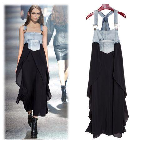 nueva moda suelta falda larga correas con volantes falda de gran swing vestido de gasa de mezclilla NHJG261365's discount tags