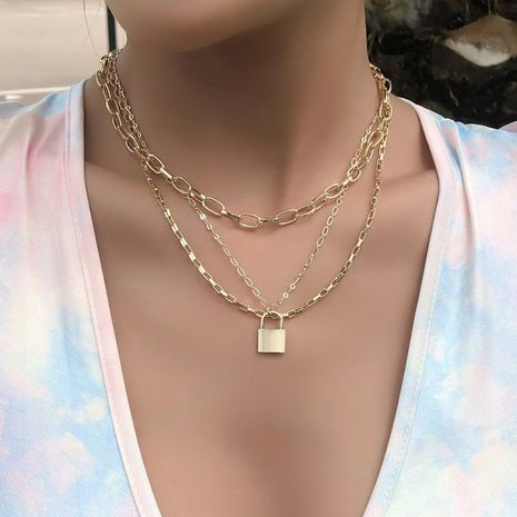 fashion simple lock butterfly multi-layer women's necklace NHAJ261406's discount tags