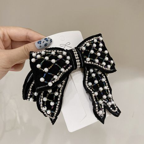 spring clip all-match bow black pearl compact diamonds full diamond crystal hairpin NHWF261416's discount tags