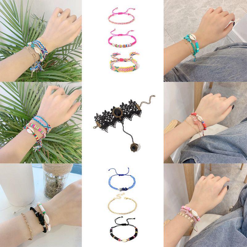 Multilayer handwoven adjustable shell crystal ethnic style hand rope bracelet  NHRN261427