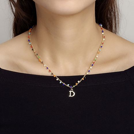 fashion new tide  letter color rice bead necklace for women hot-saling NHRN261442's discount tags