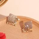 fashion retro geometric full diamond square copper earrings for women NHRN261446