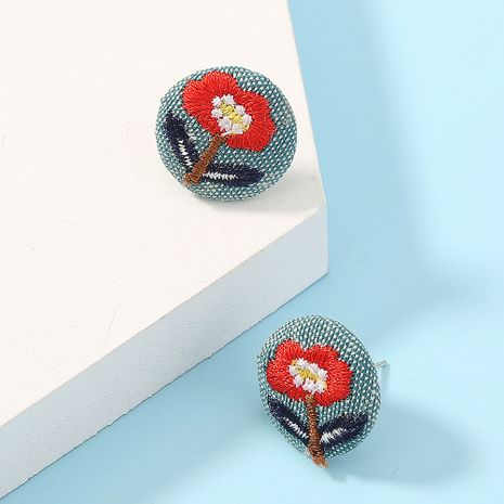 new  fabric cute simple round flower earrings  NHAN261460's discount tags