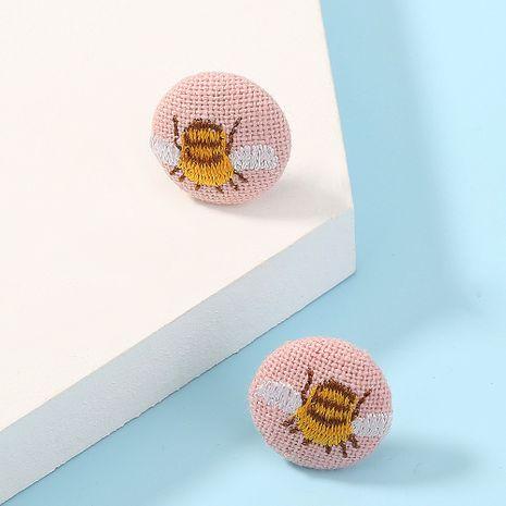 Korea  trend new  fabric cute simple round bee earrings  NHAN261461's discount tags