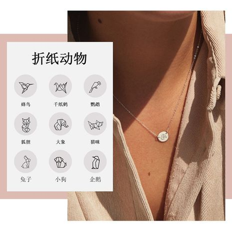 Fashion 316L stainless steel pendant animal necklace rose gold clavicle chain NHTF261492's discount tags
