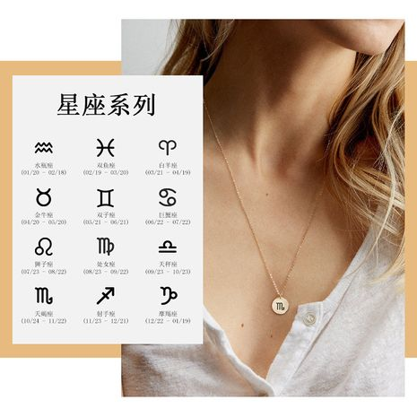 simple golden round pendant 316L stainless steel lettering constellation 13MM women's necklace NHTF261496's discount tags