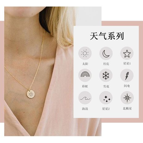 fashion lettering gold-plated 14k titanium steel hot sale rose gold necklace NHTF261498's discount tags