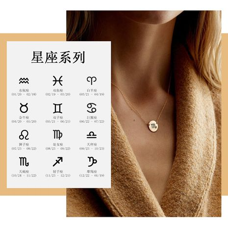 New Fashion 316L Stainless Steel Lettering Constellation Necklace  NHTF261518's discount tags