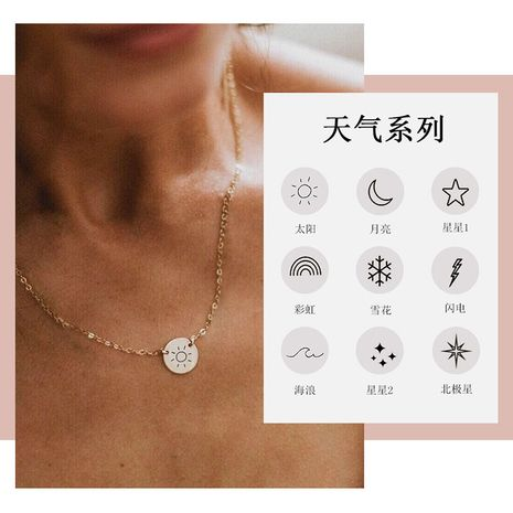 Korean fashion clavicle chain ladies lettering 316L titanium steel pendant gold-plated necklace NHTF261521's discount tags