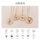 Stainless Steel Double Hole Pendant Lettering Animal Gold Plated Clavicle Chain Necklace 13MM NHTF261522
