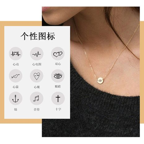 fashion lettering stainless steel pendant rose gold necklace for women 9MM double hole NHTF261526's discount tags
