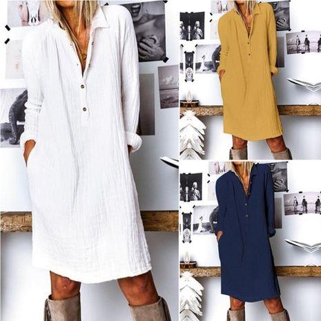 Vestidos de manga larga de lino de algodón de color sólido de nueva moda para mujer NHYF261553's discount tags